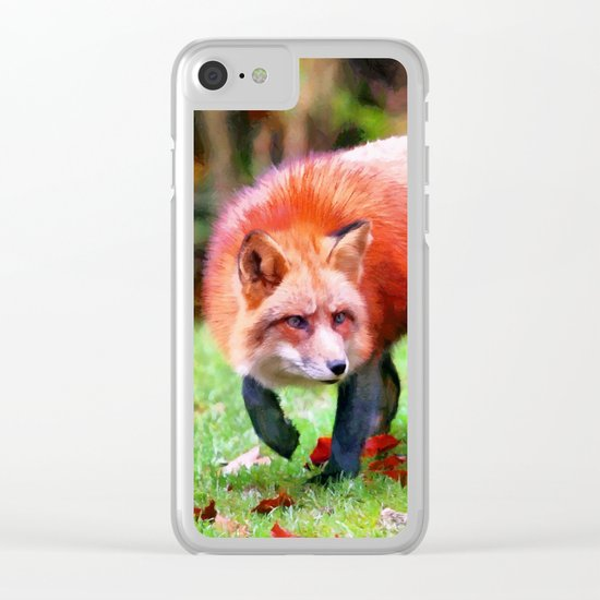 Autumn Fox hunting Clear iPhone Case