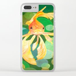 Vermilion Goldfish Swimming In Green Sea of Bubbles Clear iPhone Case