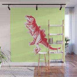 Dino Pop Art - T-Rex - Lime & Red Wall Mural