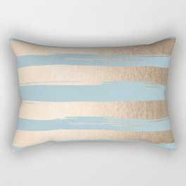 Painted Stripes Gold Tropical Ocean Sea Blue Rectangular Pillow