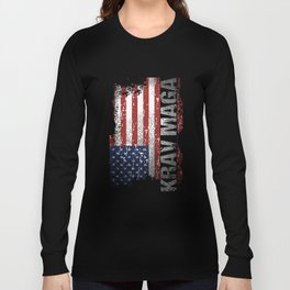 USA Flag Krav Maga Military Self-Defense veteran t-shirts Long Sleeve T-shirt