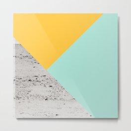 Yellow and Mint meets Concrete Geometric #1 #minimal #decor #art #society6 Metal Print