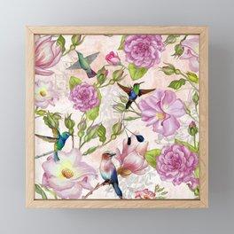 Vintage Roses and Hummingbird Pattern Framed Mini Art Print