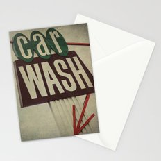 Retro Car Wash Sign Stationery Cards