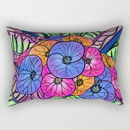 Colourful Flowers and Leaves Rectangular Pillow