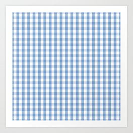 Classic Pale Blue Pastel Gingham Check Art Print