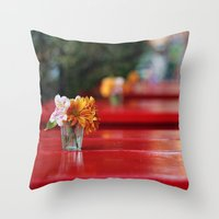aperture Throw Pillows featuring The red table by Nina's clicks