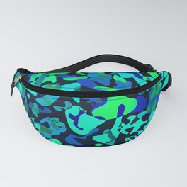 Intersecting delicate on colored spots and splashes of dark blue paints. Fanny Pack