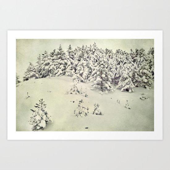 Snowy forest. Vintage Art Print