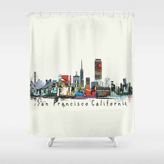 San Francisco Skyline Comic Shower Curtain