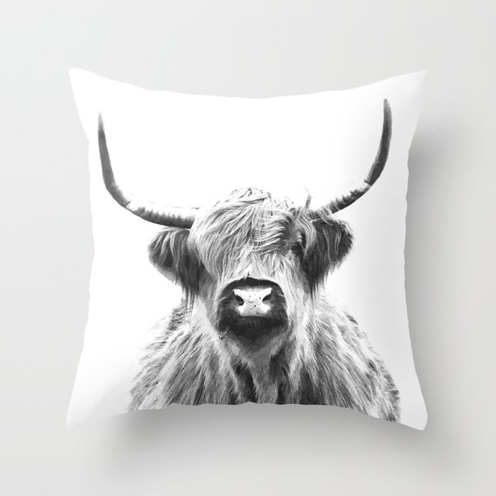 Black and White Highland Cow Portrait Throw Pillow