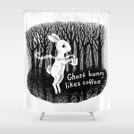 Ghost bunny likes coffee Shower Curtain