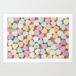 Valentine Candy Hearts Art Print