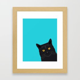 Black Cat peeking around the corner funny cat person gift for cat lady hipster black cat ironic art Framed Art Print