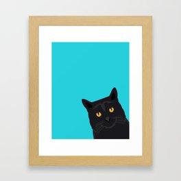 Black Cat peeking around the corner funny cat person gift for cat lady hipster black cat ironic art Framed Art Print
