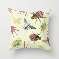 insects Throw Pillows featuring Insects by Stag Prints