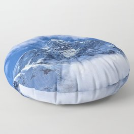Summit of Mount Everest in clouds Floor Pillow