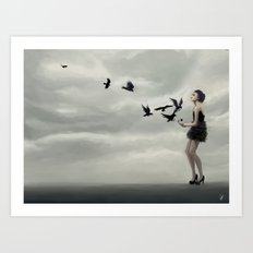 Black birds Art Print