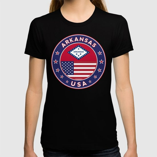 Arkansas, Arkansas t-shirt, Arkansas sticker, circle, Arkansas flag, white bg by alma_design