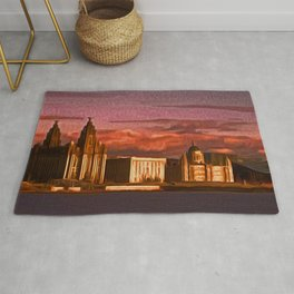 Liverpool Waterfront at Sunset (Digital Art) Rug