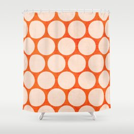 orange and white polka dots Shower Curtain
