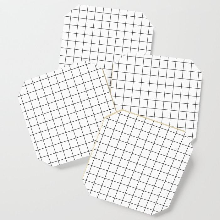 Grid Stripe Lines Black and White Minimalist Geometric Coaster