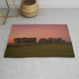 Bright Orange Sunset At Combestone Tor Rug