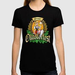 Oktoberfest German Prost Sexy Pin Up Girl Beer Label T-shirt