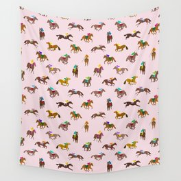 Off to the Horse Races (Pink) Wall Tapestry