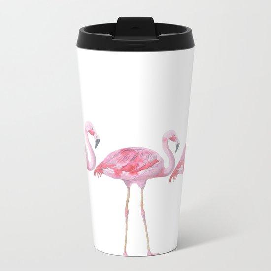Flamingo - pink bird - animal on white background Metal Travel Mug