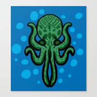 cthulhu Canvas Prints featuring Cthulhu by kelseycadaver