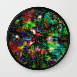 Multi Colored Green Red Abstract Dark Wall Clock