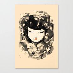 Ink Flower Girl Canvas Print