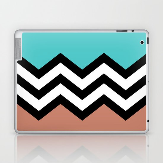 AQUA & DARK CORAL CHEVRON COLORBLOCK Laptop & iPad Skin