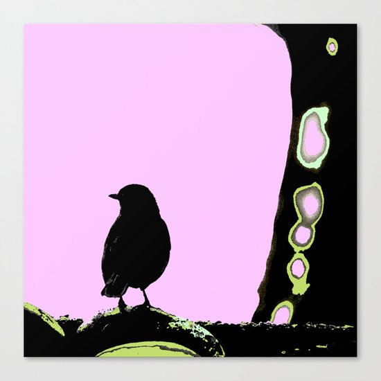 Spring mood - singing bird - black bird on a pink background Canvas Print
