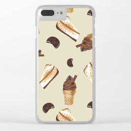 Seamless pattern: ice cream, cheesecake, cookie Clear iPhone Case