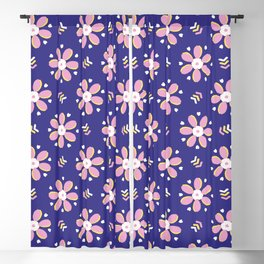 Retro bold floral daisies seamless pattern. Blackout Curtain