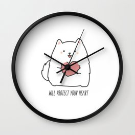 Fluff will Protect Your Heart Wall Clock