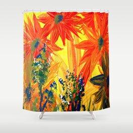 Flowers In Orange Shower Curtain