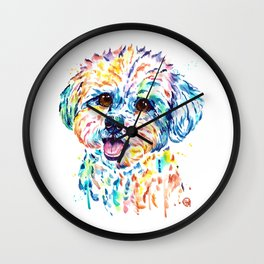 Bichon Frise Watercolor Painting by Lisa Whitehouse Wall Clock