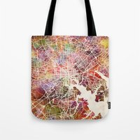 baltimore Tote Bags featuring Baltimore map by MapMapMaps.Watercolors