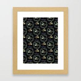 Black Green Natural Leaf Wreath Berry Branch Framed Art Print