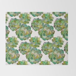Rosette Succulents – Green Palette Throw Blanket