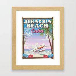 Jibacoa beach Cuba travel poster Framed Art Print