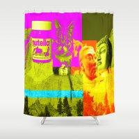 nutella Shower Curtains featuring Mountain Rushmore  by Latidra Washington
