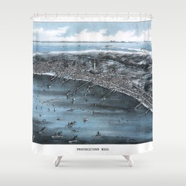 PROVINCETOWN MASSACHUSETTS city old map Father Day art print poster Shower Curtain