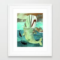 dick Framed Art Prints featuring Moby Dick by Mary Slumber