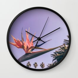 Birds of Paradise Print {2 of 3} | Palm Trees Ocean Summer Beach Magenta Photography Art Wall Clock