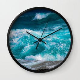 bright blue stormy waters Wall Clock