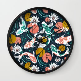 Koi Pond - Pink Wall Clock